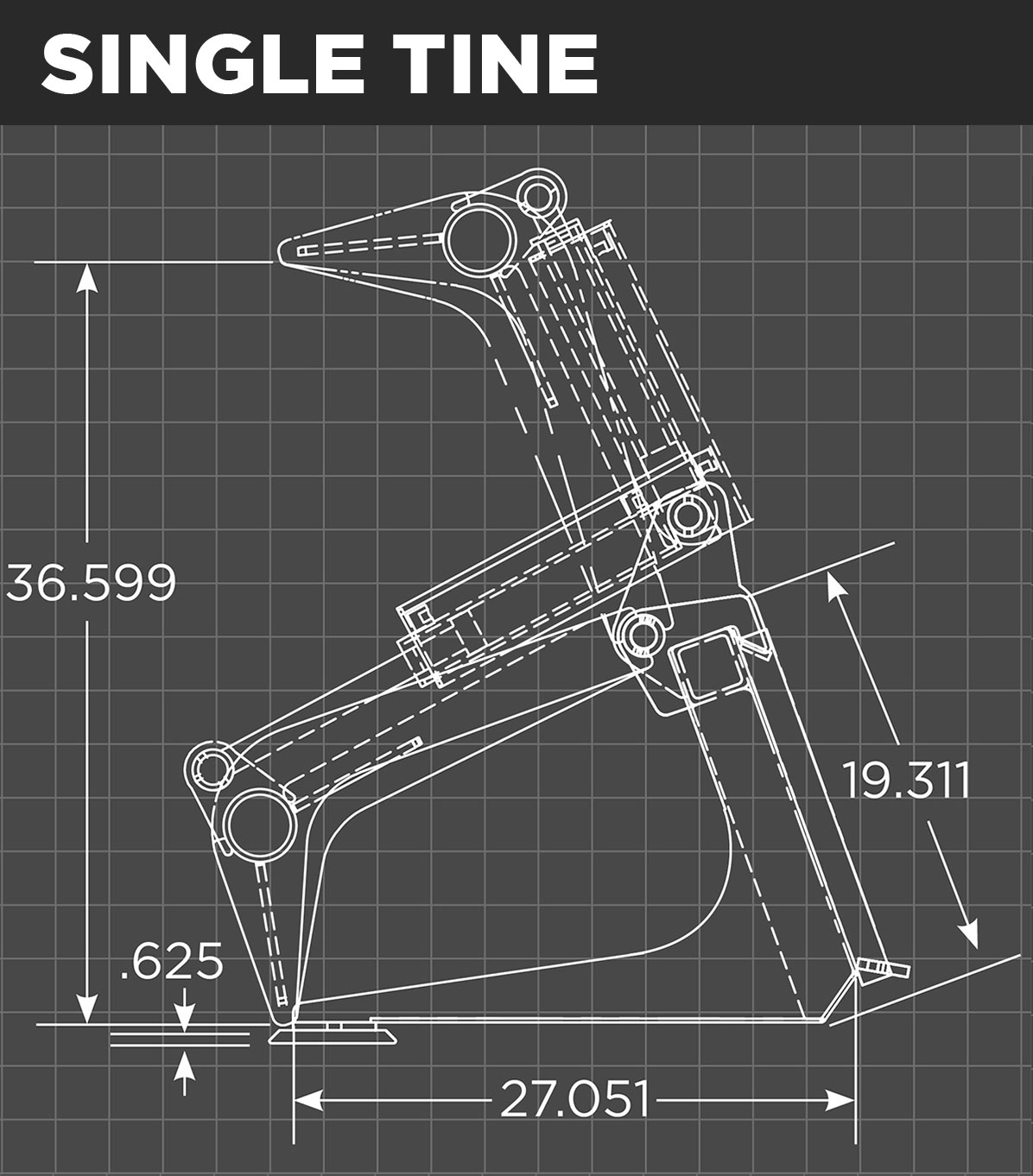 Mini Grapple Bucket Single Tine Schematic