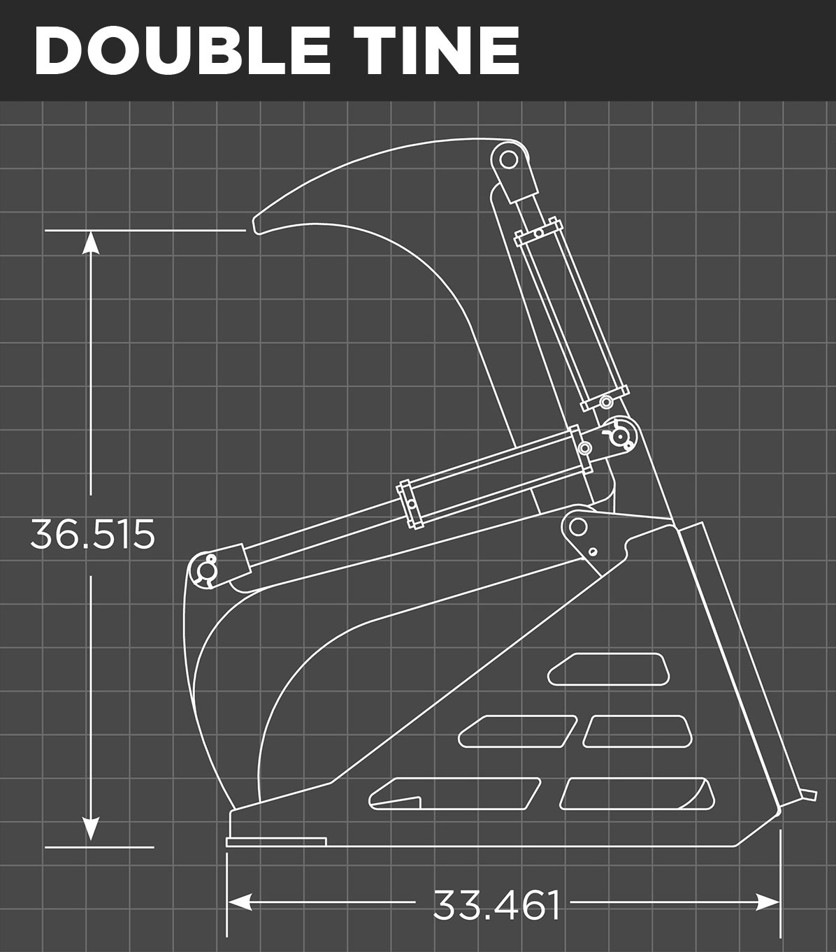 Rock Bucket Double Tine Schematic